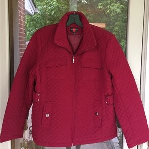 GALLERY Women's Red Quilted Jacket - Size XL